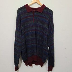 Vintage Burgundy/Blue Oversize Grandpa sweater